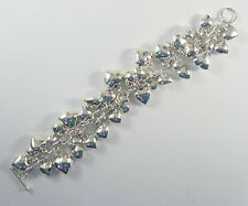 """.925 sterling silver substantial puffed heart charm bracelet 8"""" long"""