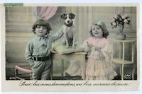 c 1908 Child Children Cute Kids w/ NIPPER DOG French photo postcard