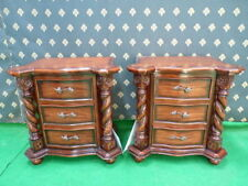 Mahogany Colonial style Tudor bedsides / nightstands with twist columns