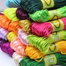 20M Chinese Knot Satin Nylon Braided Cord DIY Macrame Beading Rattail Cords