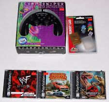 SONY PLAYSTATION PSX Scorpion PSX Controller + Memory Card + Video Game Lot