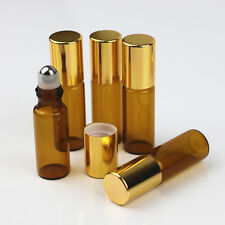 5ml 10pcs glass roll on bottle amber empty Steel Metal Roller Ball Essential Oil