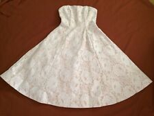 NWT Maniju Beige Cream Lace Overlay Strapless Full Flair Formal Bridal Dress S