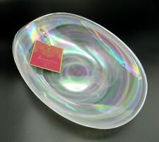 WHITE OPAL IRIDESCENT SWIRL ARTISTIC ACCENTS TURKISH GLASS OVAL SERVING BOWL NEW