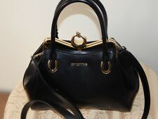 NWT CROMIA LEATHER FRAMED NERO SATCHEL SHL BAG BLACK MADE IN ITALY 1402262RO