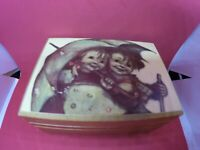 Reuge Swiss Wood Music Box with Hummel Boy and Girl