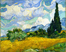Vincent van Gogh Wheatfield with cypresses 16.5X11.7 canvas print reproduction