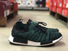 ea5a75a23abd2 Adidas NMD R1 STLT Primeknit Mens Running Shoe Black Green AQ0936 NEW Size  11