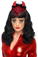 Señoras sombrero de diablo rojo cráneo casquillo Sexy Lentejuelas cuernos Burlesque demonio Dance Party Nuevo