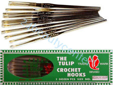 SET 12 TULIP JAPAN Steel Gold Plated Crochet Hooks Sizes MIX : 0.50 to 1.75 mm