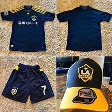 ADIDAS LA GALAXY YOUTH MEDIUM M JERSEY SHORTS HAT CAP SET MLS Soccer Los Angeles