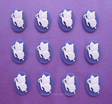 12 unset White BUTTERFLY on Purple Left Facing (6 PAIRS) 18mm x 13mm CAMEOS Lot