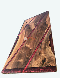 Red Resin River Dining Custom Center Dining Table Top Handmade Royal Furniture