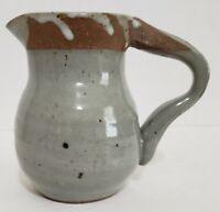"Hand Thrown Studio Art Pottery Pitcher Glazed Gray 4.5"" H x 3.5"" Signed 85'"