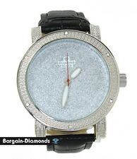 mens big silver tone business clubbing CZ watch leather strap bling maxx