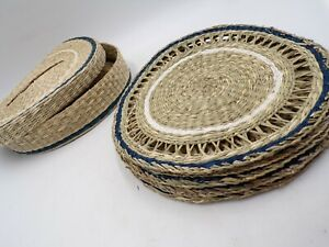 """Pottery Barn Woven Seagrass Placemats with Holder Blue Rim Set of 6 12"""" #4636"""