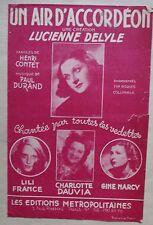partition UN AIR D'ACCORDEON Lucienne Delyle Lili France C. Dauvia G. Marcy
