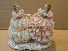 MZ Irish Dresden Lace Porcelain 2 Women Figurine Highly Detailed Antique