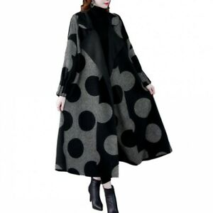 Polka Dot Oversized Outwear Coat Women Lapel Mid Length Casual Fashion Trench L