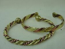 (2) Vintage Twisted Solid Copper and Brass Cuff Bracelet * Lot of Two Cuffs *