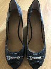 Said Fifth Avenue Black Wedge Leather Womens Shoes 9.5