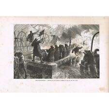 GRAVURE Câble transatlantique Coup de vent du 4 Août 1865 Great-Eastern XIXè S
