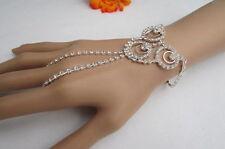 De Mujer Pulsera Moda Metal Plateado Cadena para Mano Círculos Rhinesones Bling