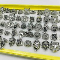 Wholesale 60pcs Mixed Retro Punk Biker Animal Jewelry Antique Silver Party Rings