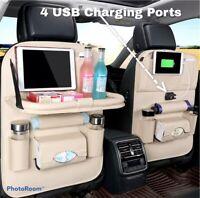 1 Leather Car Back Seat Bag Storage Organizer 4 USB Cup iPad Phone Holder Pocket