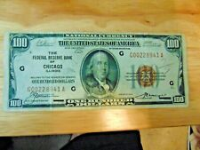1929 National Currency $100 Federal Reserve Bank of Chicago Illinois