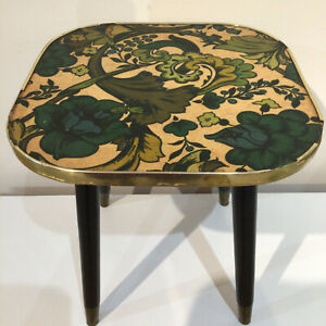 Small Vintage Retro 1960s Side Table Green Paisley Formica Top Dansett Legs 60s