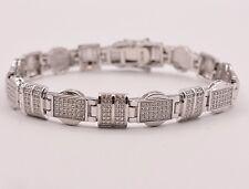 """Men's Clear CZ Fancy Rolex Chain Link Bracelet Sterling Silver 925 White 8.5"""""""
