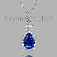 Solid 18K White Gold Diamond AAA Tanzanite Wedding Gemstone Pendant 6x9mm Pear