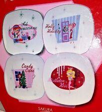 4 Sakura Oneida Christmas Cuties Vintage Look Stoneware Salad Dessert Plates