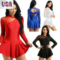 Womens Gymnastics Leotard Dress Backless Figure Ice Skating Ballet Dance Costume