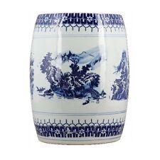 Porcelain Garden Stool Blue White Scenic Asian Chinese Ceramic Oriental Danny