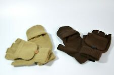 TWO PAIR Womens One-Size 1-tan 1- brown Convertible Gloves / Mittens NWT