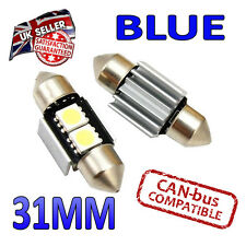 2 X 31mm CANBUS Festoon Azul LED Bombillas 2 SMD interior número de placa placa 269 Bright