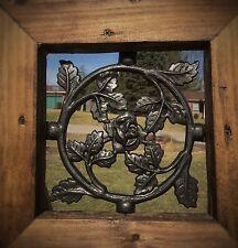 Wood gate Window, Wrought Iron Rose Pattern, door steel insert, entry panel