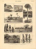 1883 Stampa ~ South West Africa Loanda Nativi Quanga Fiume Dande Canoe Congo