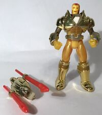 "Marvel Comics Iron Man Hydro Armor 5"" Gold Figure Toybiz 1994 Near Complete"