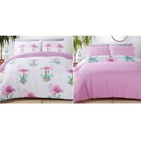 LUXURY REVERSIBLE FLAMINGO DUVET QUILT COVER BED LINEN BEDDING SET PINK & WHITE