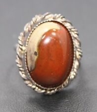 Adjustable Sterling Silver Orange Brown Oval Agate Stone Ring