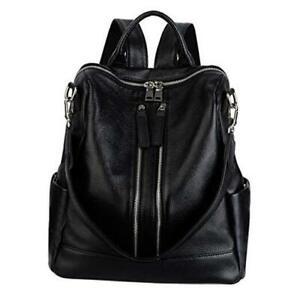 Women's Convertible Real Leather Backpack Versatile Shoulder Large Black 3.0