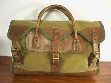 Vtg Gokeys Leather & Canvas Shoulder Messenger Attache Bag Briefcase Case Pack