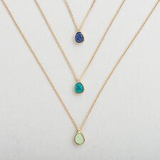 New Set of 3 Stone Pendant Fashion Jewelry Necklaces Girls Women Gifts blue