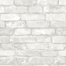 NUWALLPAPER GREY AND WHITE BRICK PEEL & STICK WALLPAPER - NU1653 - FEATURE WALL