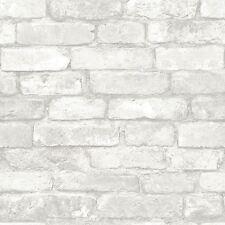 Nuwallpaper Gris et Blanc Brique Peel & Stick Papier Peint-NU1653-caractéristique mur