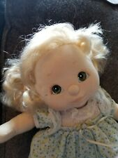 Mattel My Child Doll, blonde, green eyes, blue floral dress, shoes - charity