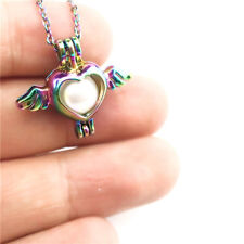 C59 Bead Cage Multi color Wing Love Heart Pendant Rainbow Chain Necklace